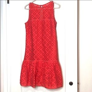 Milly New York Coral Eyelet Sleeveless Dress
